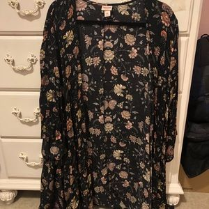 Black floral cardigan coverup